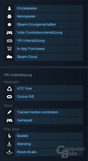 VR-Unterstützung mit neuen Subkategorien