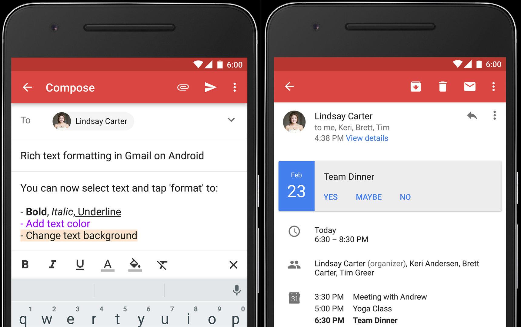 Textformatierungen in Google Gmail 6.0 für Android möglich