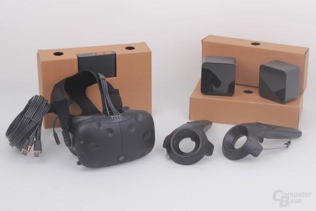 HTV Vive Pre: VR-Brille, Controller und zwei Basis-Stationen