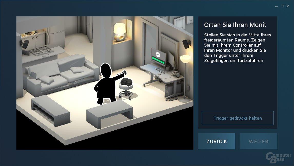 Wo der Monitor steht, ist später auch in VR das Menü