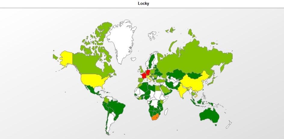 Weltweite Verteilung der Infizierungen durch Locky
