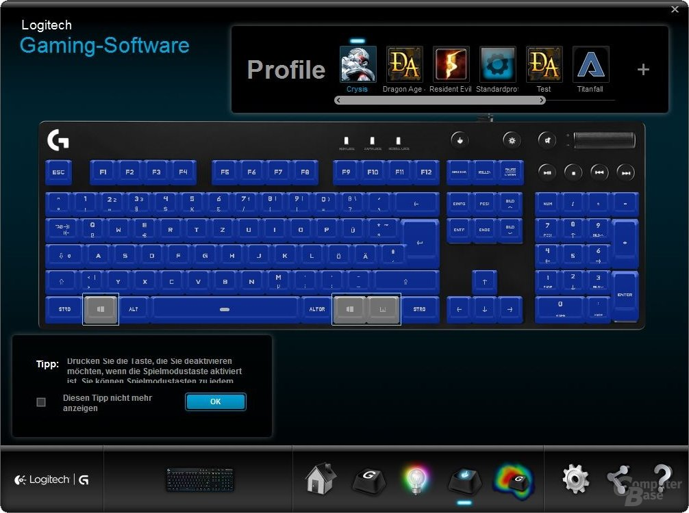 Welche Tasten der Spiele-Modus deaktiviert, kann individuell pro Profil konfiguriert werden