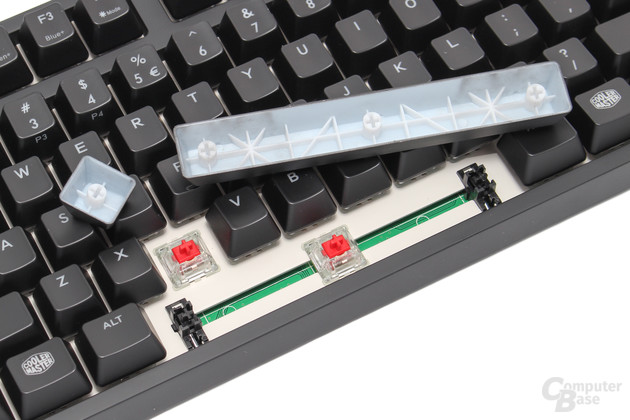 """Plate mounted"" Cherry MX Red RGB mit ""Cherry""-Stabilisatoren"