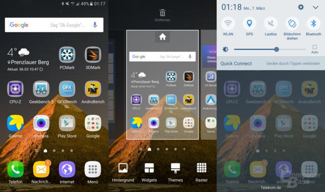 Homescreen mit neuen Symbolen und helleren Farben