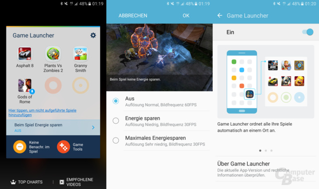 Game Launcher mit Energiesparoptionen