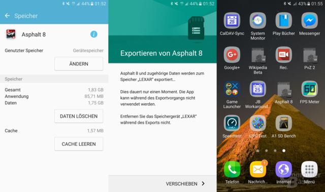 Apps lassen sich teilweise auf microSD verschieben