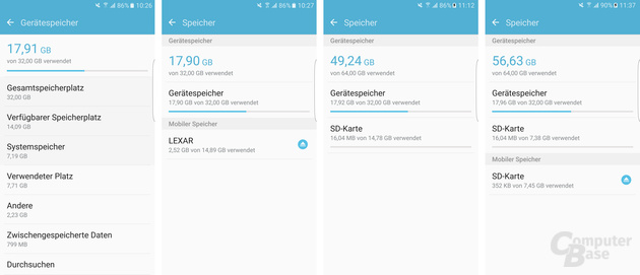 Galaxy S7 ohne microSD, mit microSD, mit Adoptable Storage, mit 50:50 Adoptable Storage