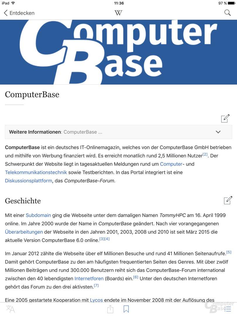 Wikipedia 5.0 für iOS