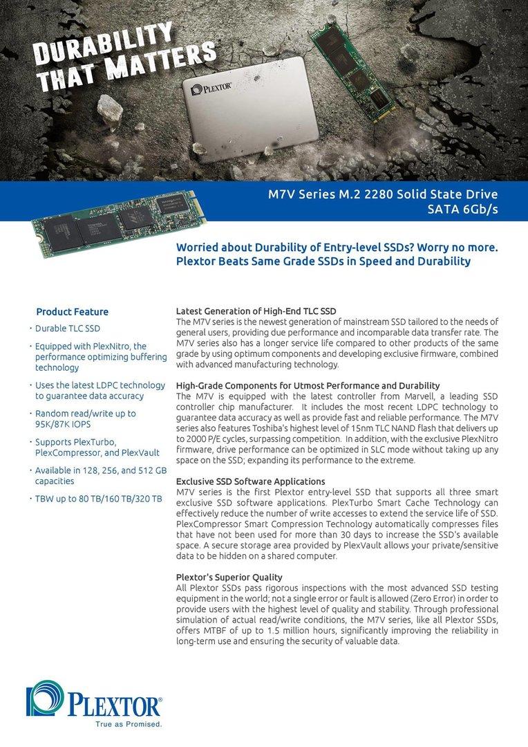Plextor verrät Details zur M7V als M.2-Modul