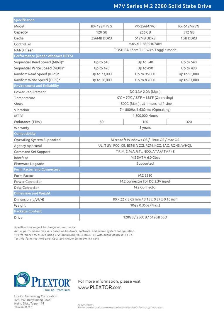 Spezifikationen der Plextor M7V M.2