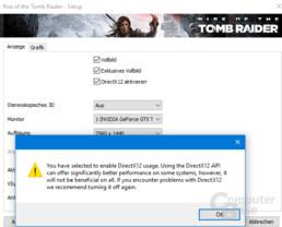 Beim Aktivieren von DirectX 12 gibt es eine Warnung