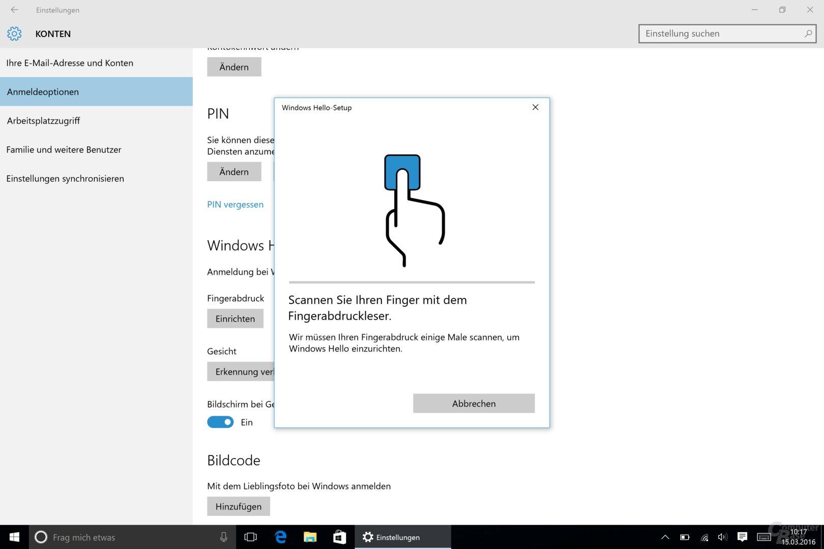 Fingerabdrucksensor auf dem Surface Pro 4