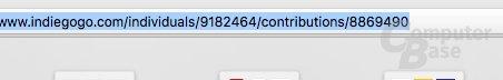 Die letzte Nummer in der URL ist die Pledge ID