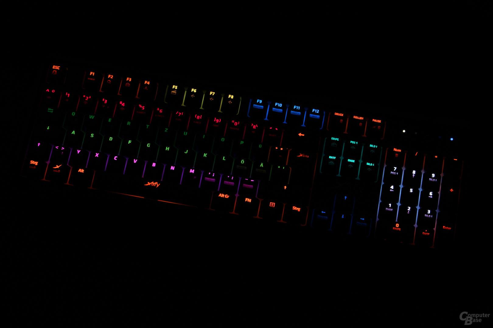 Die Ausleuchtung der K2 ist für RGB-Tastaturen eher schlecht
