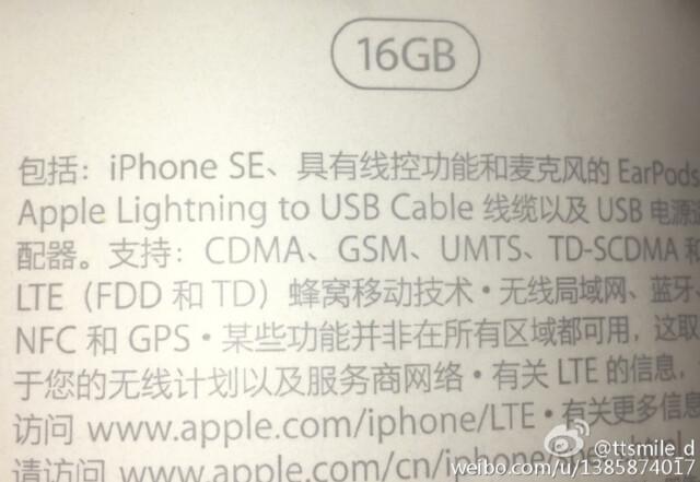 Verpackungsrückseite des iPhone SE