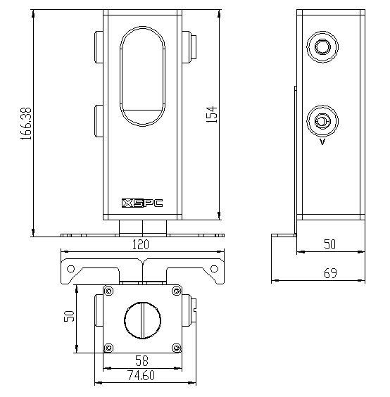 XSPC Ion Pumpen-Reservoir Kombination – Abmessungen