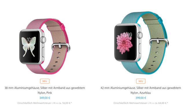 Apple Watch Sport mit neuem Nylon-Band und neuem Preis