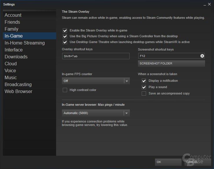 Global kann eingestellt werden, dass immer SteamVR genutzt werden soll