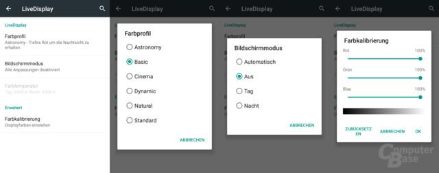 Profile für das LiveDisplay