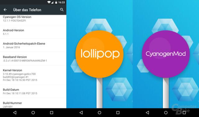 Alte Android-Basis und Sicherheitspatch-Ebene
