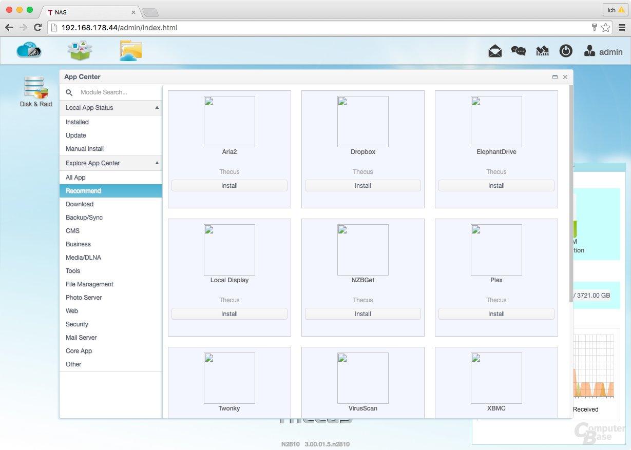 ThecusOS 7.0 – Im App-Center fehlen teilweise die Symbole