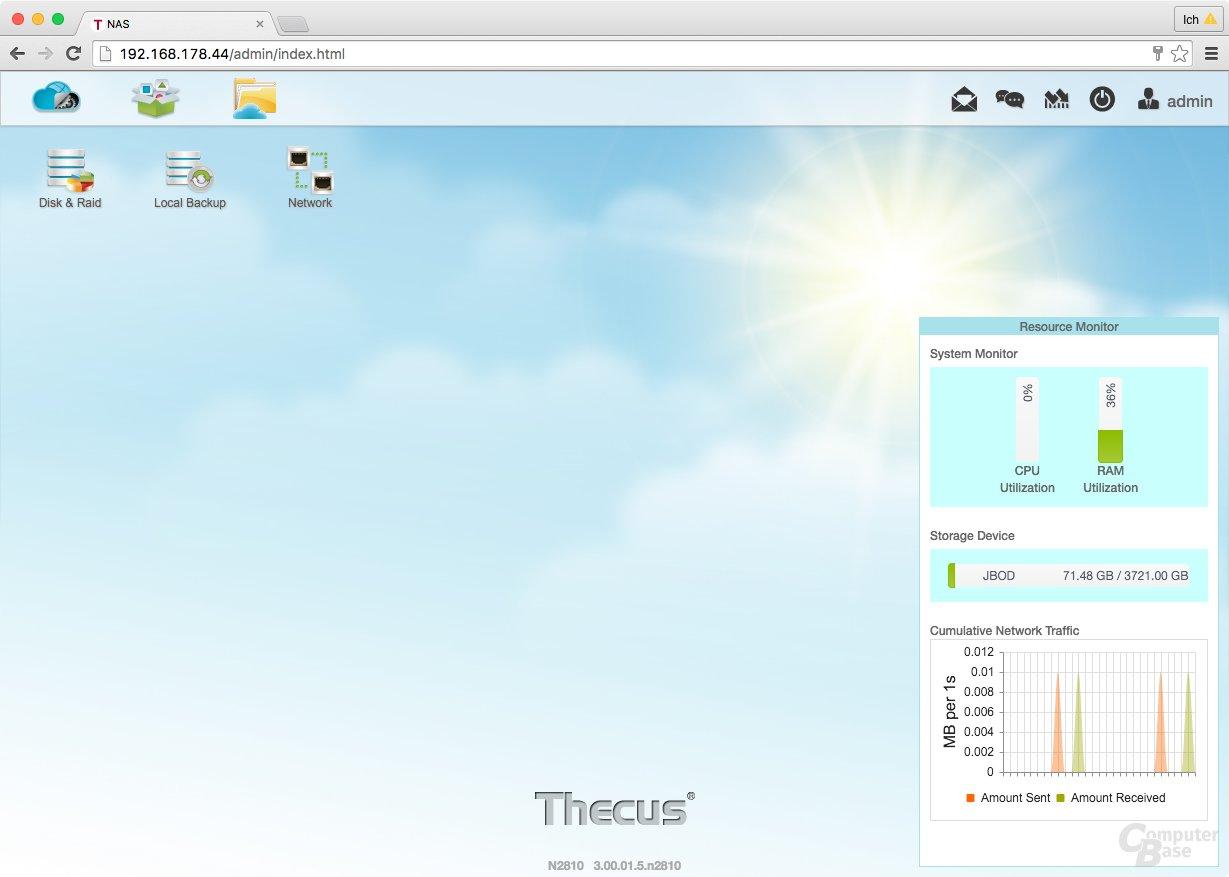 ThecusOS 7.0 – Ressourcen Monitor