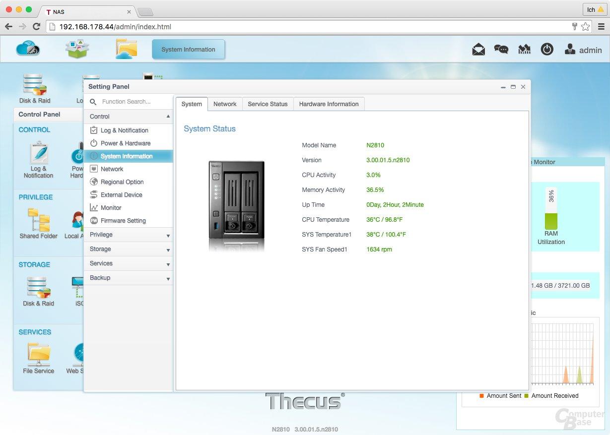 ThecusOS 7.0 – System Status