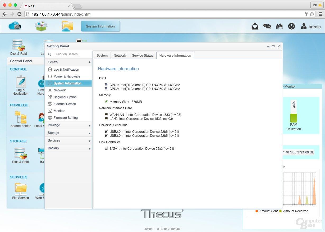 ThecusOS 7.0 – Hardware Informationen