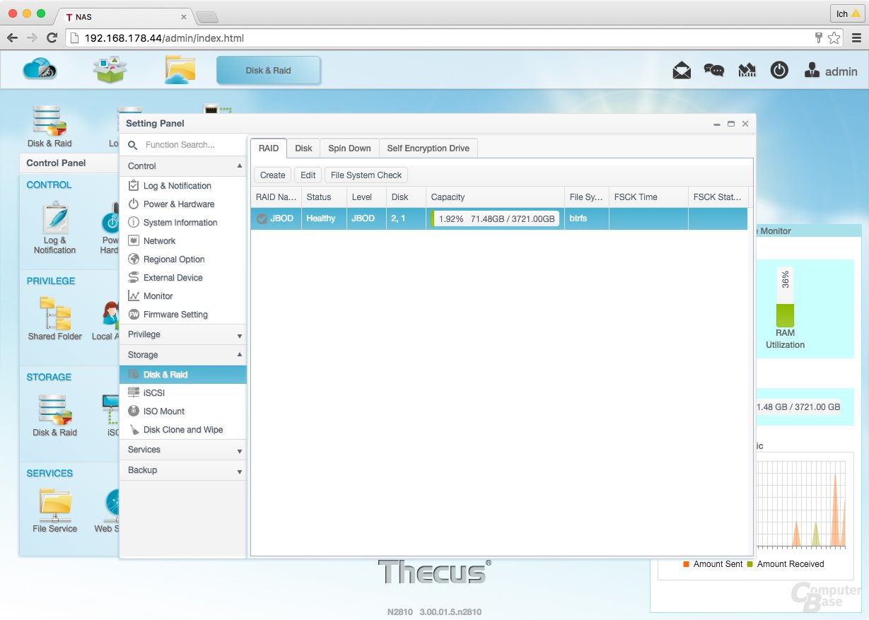 ThecusOS 7.0 – Festplatteninformationen