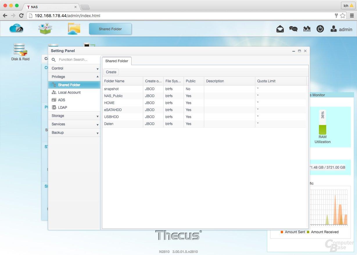 ThecusOS 7.0 – Gemeinsame Ordner