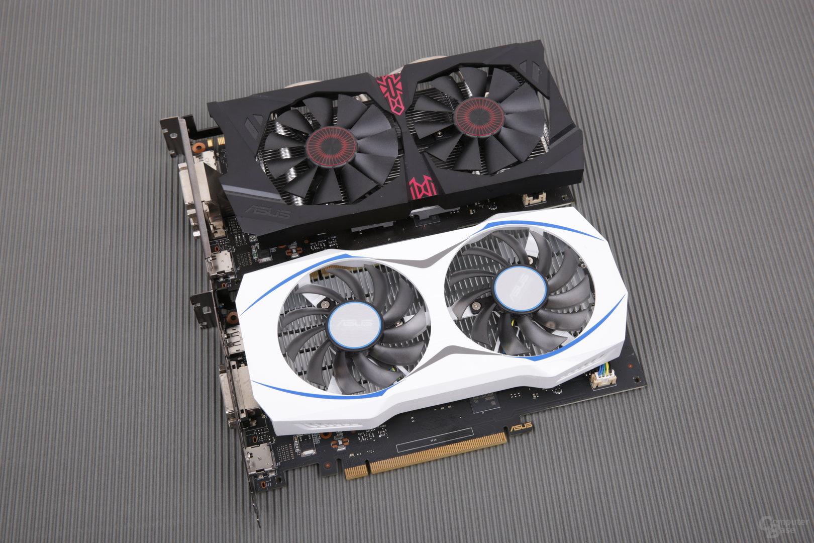 Asus GTX 950 Strix OC (oben) und 2G (unten)