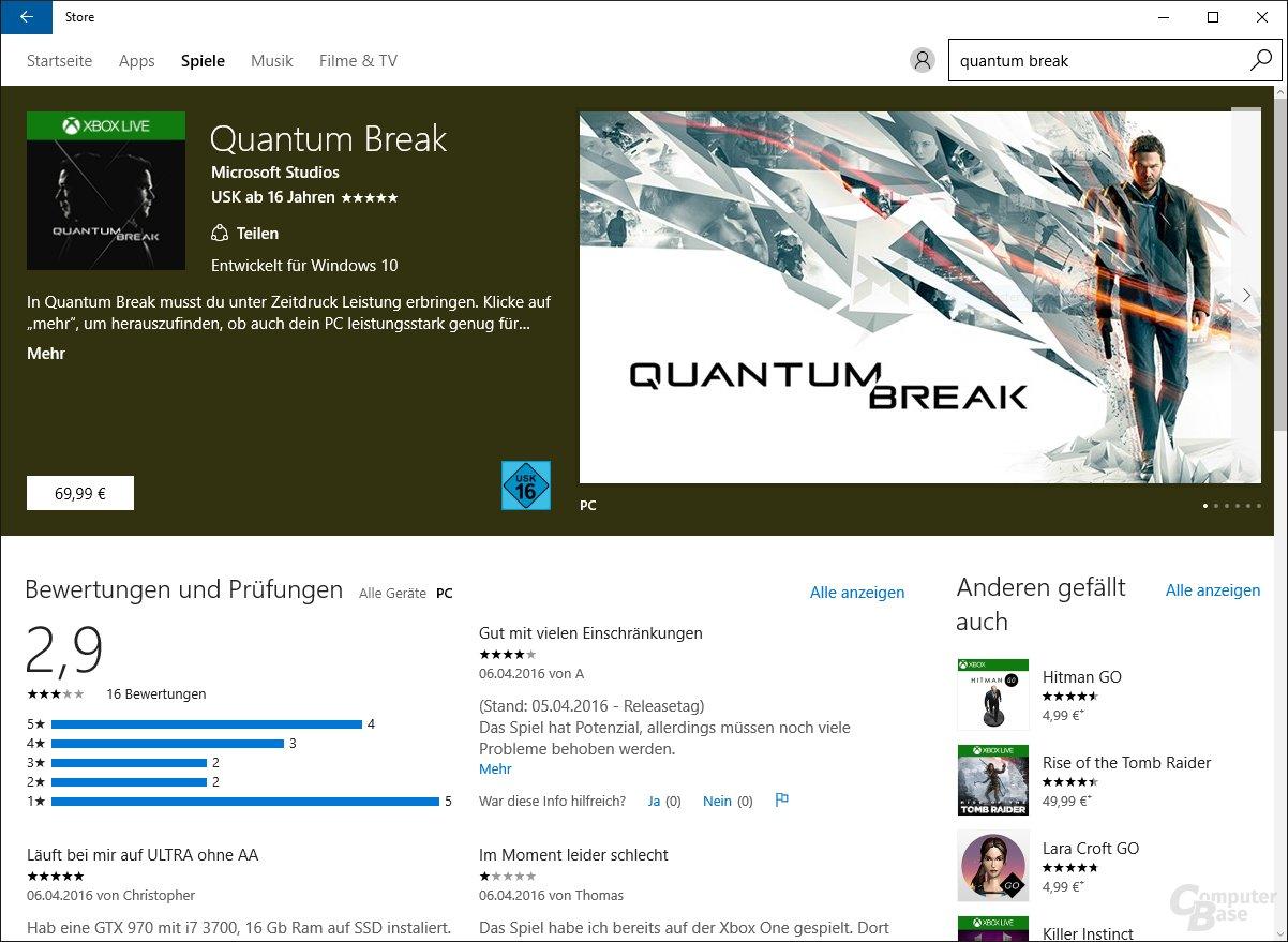 Quantum Break im Windows 10 Store