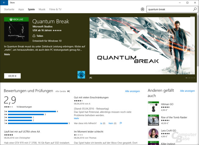 Quantum Break im Windows 10 Store
