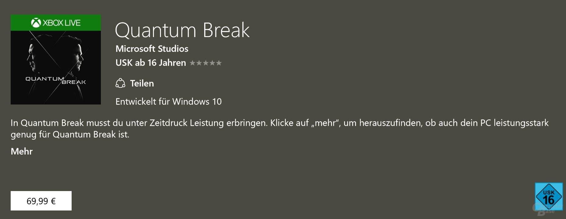 Für Quantum Break werden auch auf dem PC 70 Euro fällig