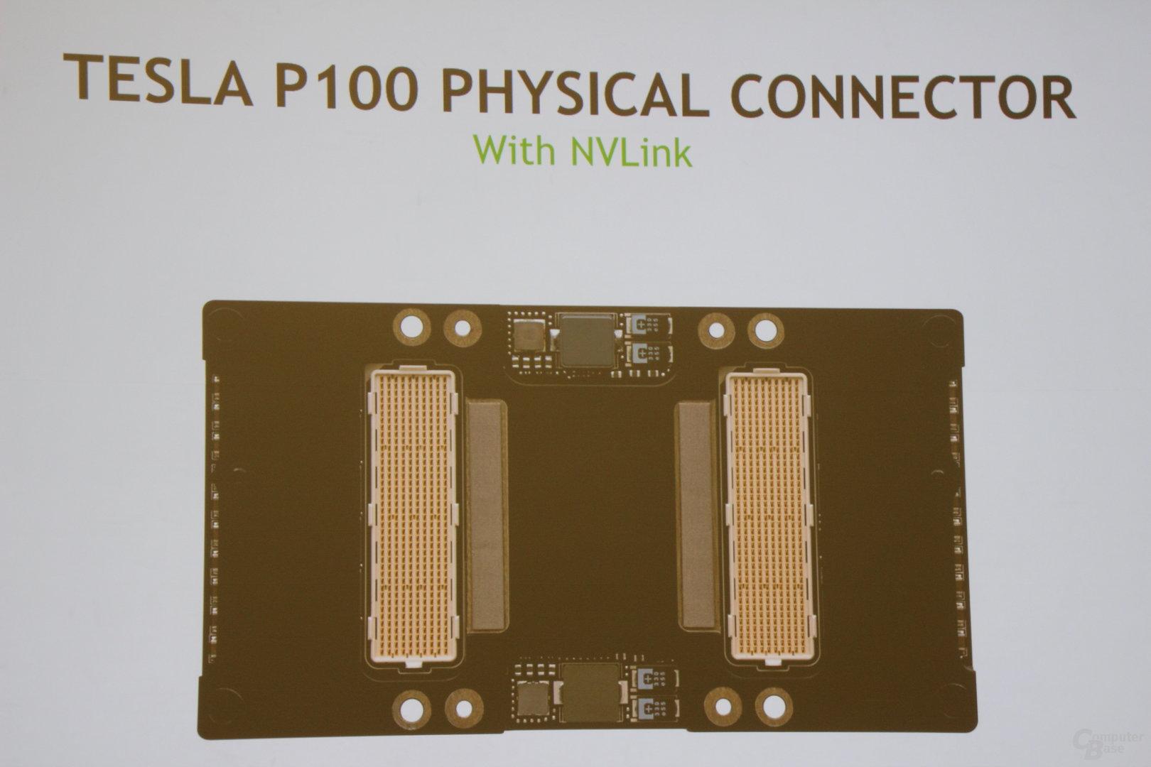 Nvidia Tesla P100 – Rückseite mit NVLink-Verbindungen