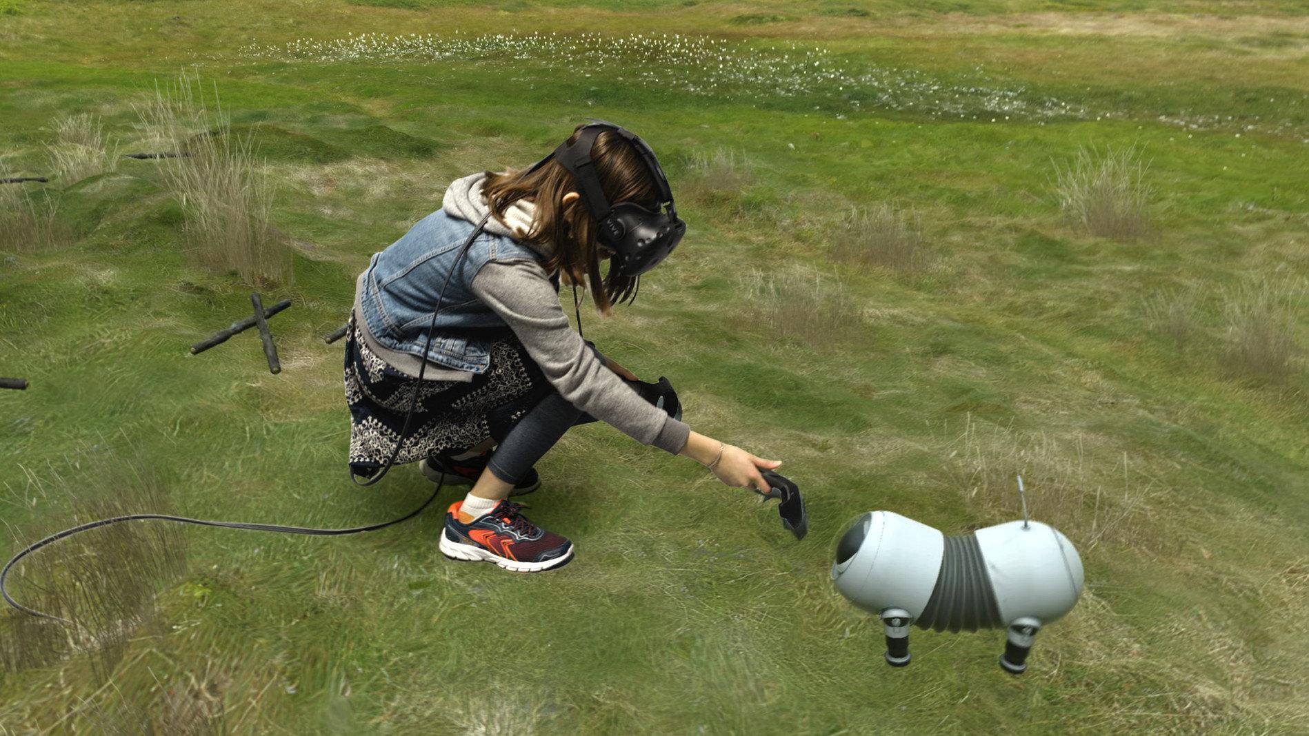 An der Seite des VR-Nutzers: Ein kleiner Roboterhund im Portal-Stil