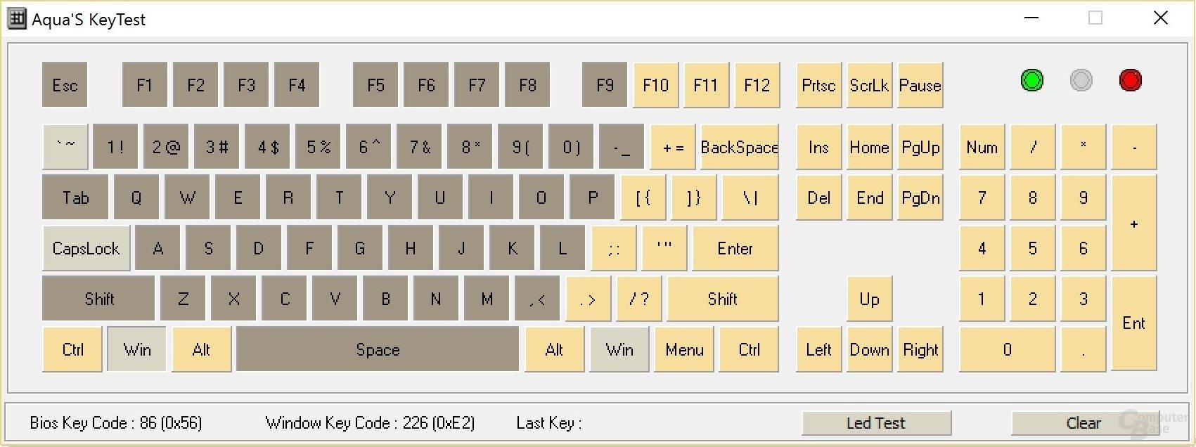 """N-Key-Rollover (""""KRO"""", Anzahl gleichzeitig zu drückender Tasten)"""