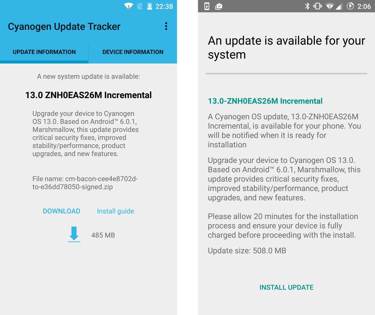 Update auf Cyanogen OS 13