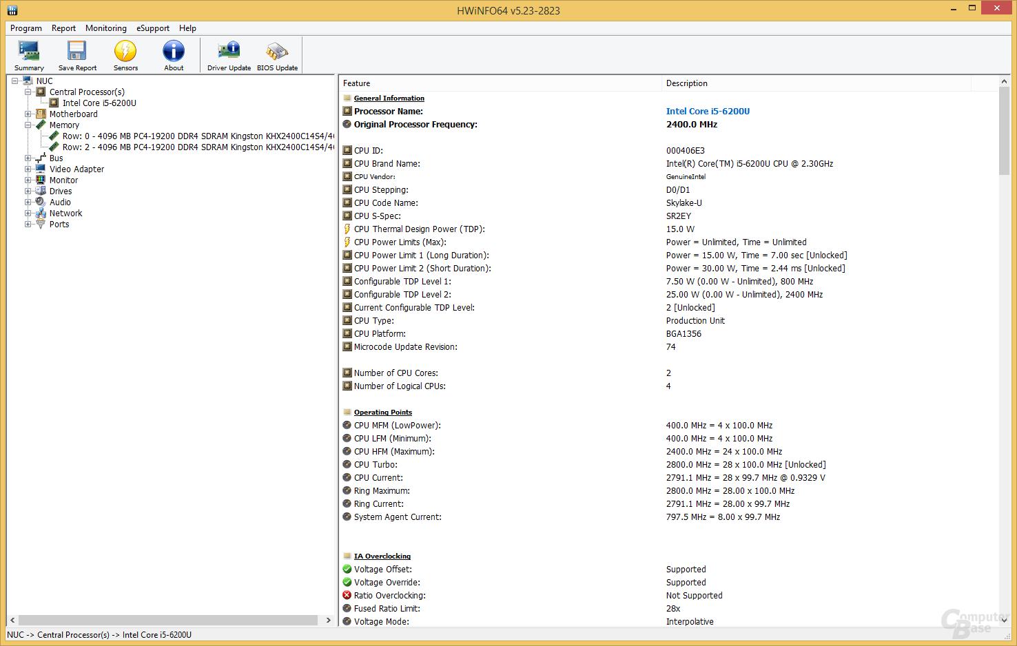 Intel Core i5-6200U im Brix nie unter 2.400 MHz