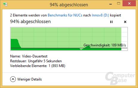 Kopiertest via USB 3.1 auf Seagate 8 TB