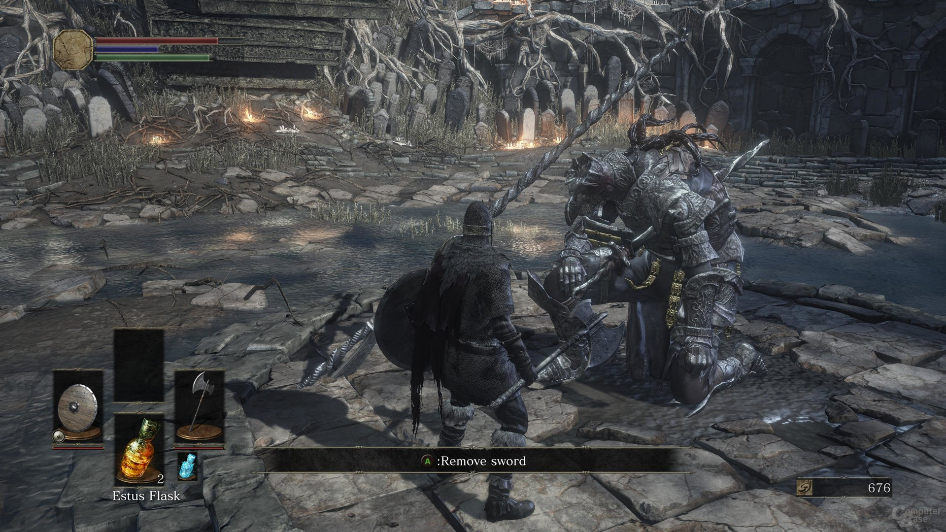 Was gleich passiert ist vorhersehbar: Der Spieler stirbt.