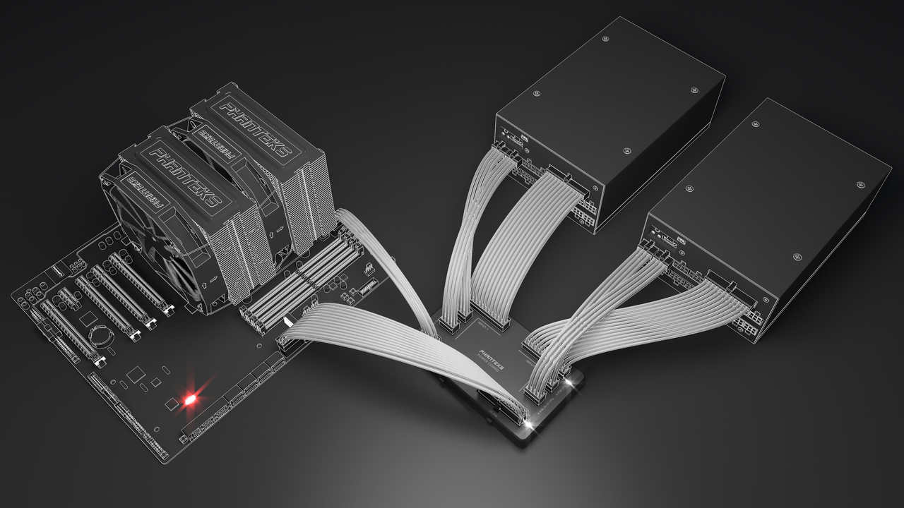 Phanteks PowerCombo: Adapterplatine erlaubt Bündelung von zwei Netzteilen