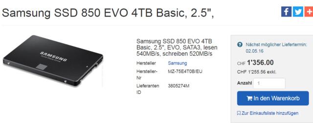 Samsung 850 Evo 4 TB bei Schweizer Händler