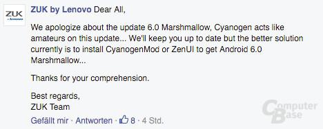 Stellungnahme von ZUK auf Facebook