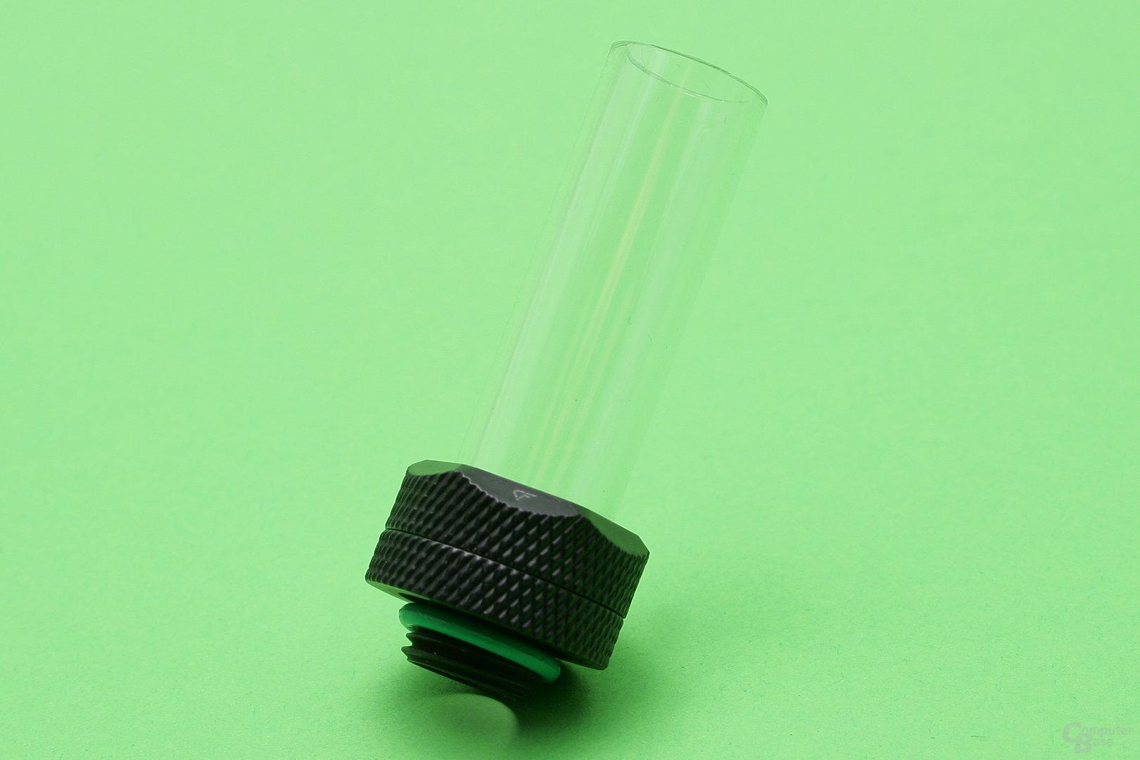 Herkömmliches Hardtube-Fitting: Dichtungsringe liegen außen am Rohr an