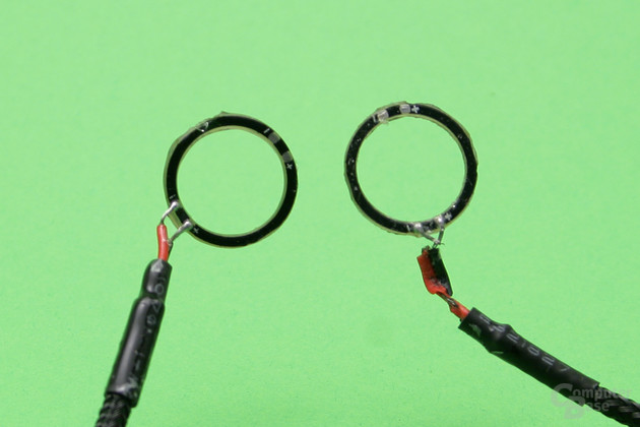 LED-Ring neu (links) und mit Kurzschluss (rechts)