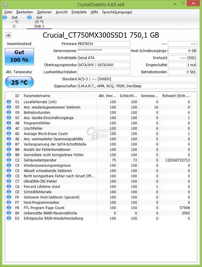 Crucial MX300 750 GB mit Firmware M0CR010