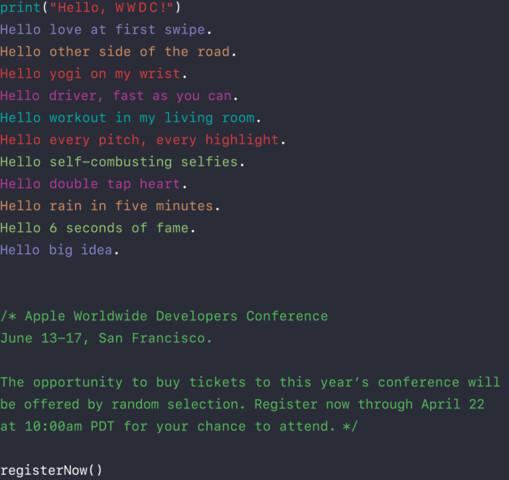 Apples offizielle WWDC-Ankündigung