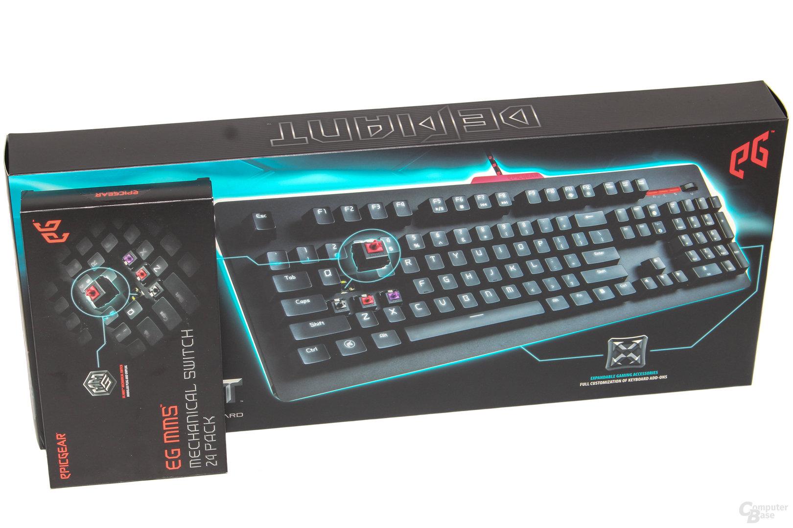 Umverpackung von Tastatur und Tasterpaket