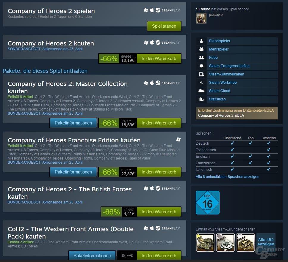 Angebot für Company of Hearoes auf Steam